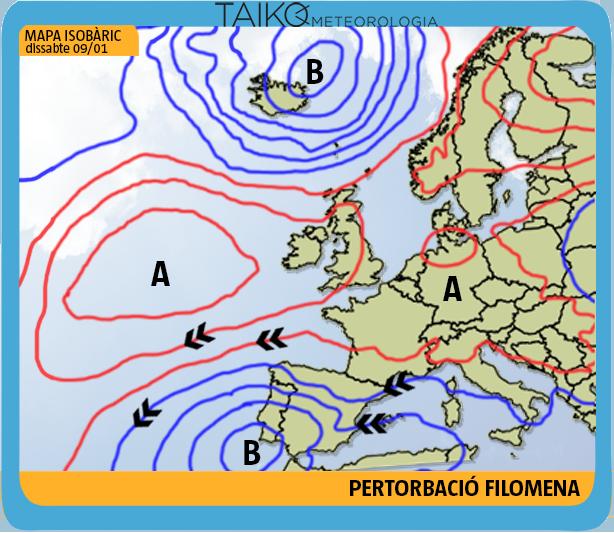 Mapa isobárico sábado 9 de enero