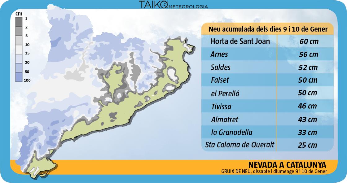 Mapa de acumulaciones de nieve entre sábado 9 y domingo 10 de enero